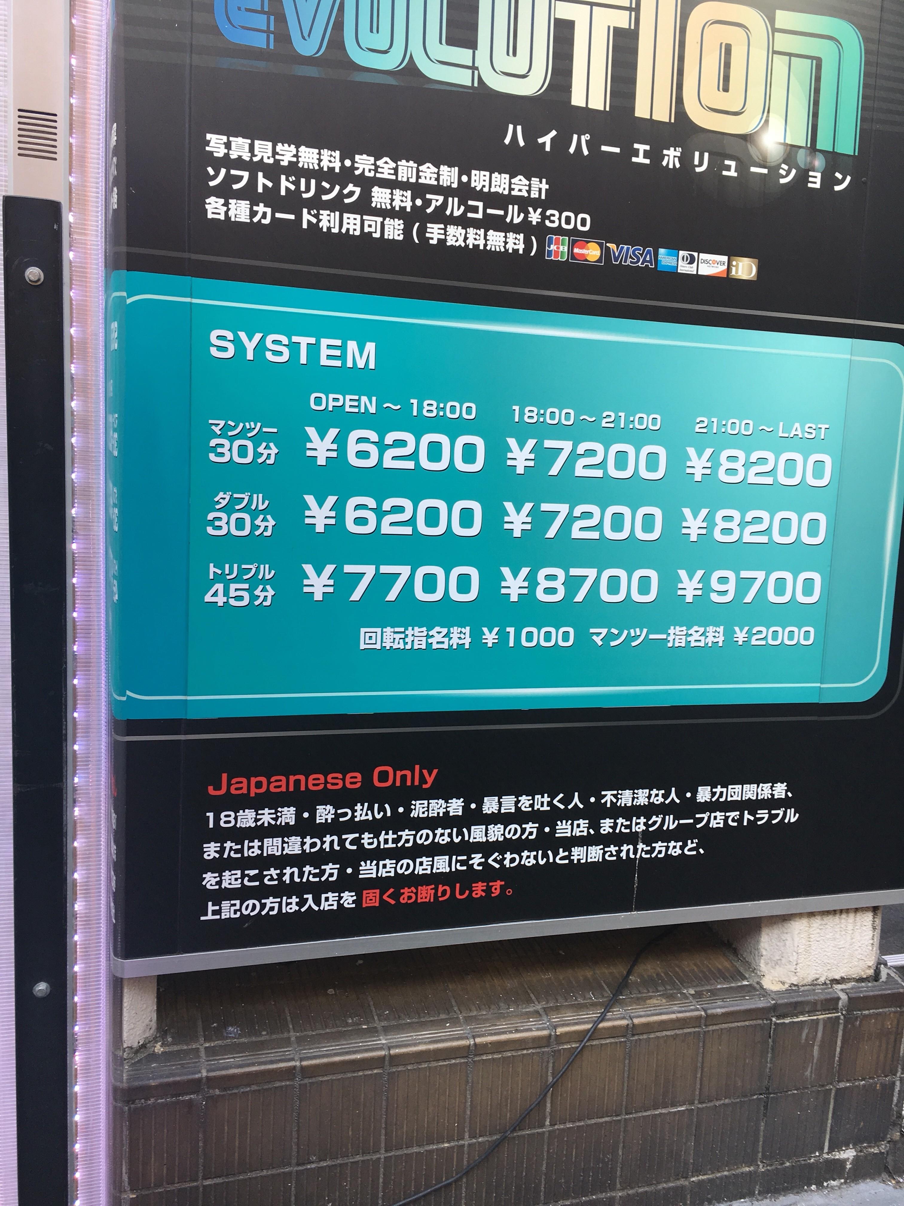 五反田のハイパーレボリューションの価格表