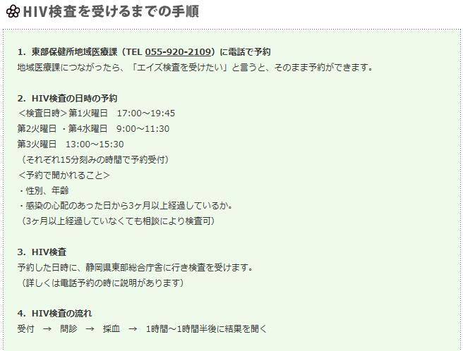 静岡県東部での性病検査