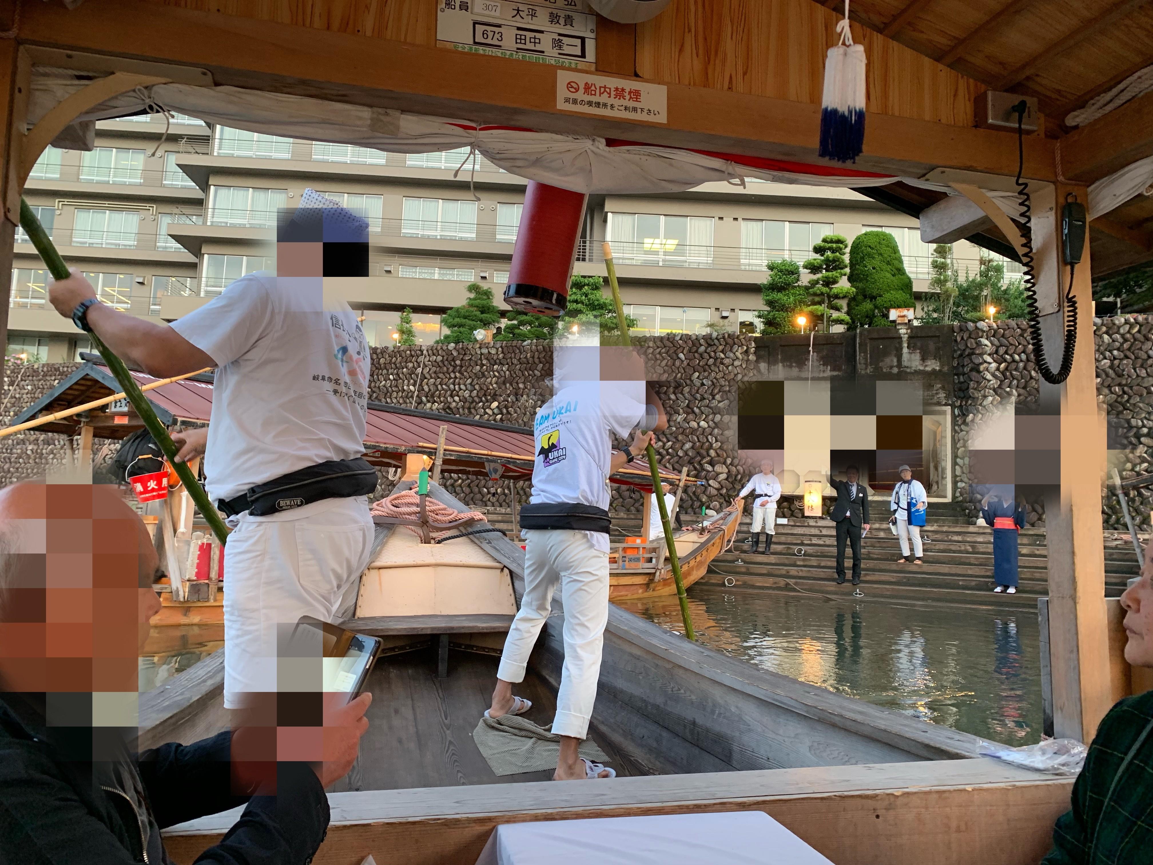 長良川温泉の旅館十八楼での鵜飼いの画像