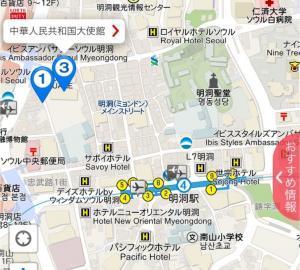 明洞駅ちかくの中国大使館の地図