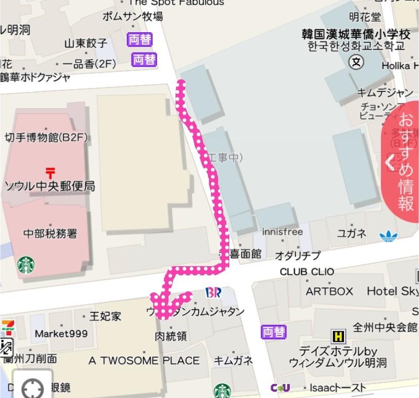 肉統領までの地図の画像