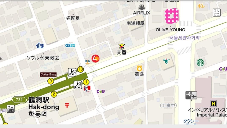 鶴洞駅からDAOまでの地図の画像